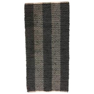 Lædertæppe zigzag 70x140 cm sort/beige 151106