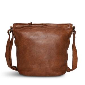 Pia Ries crossbody taske med lynlås i cognac farvet kalveskind