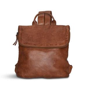 Pia Ries læder rygsæk med overslag. Cognac 057-11