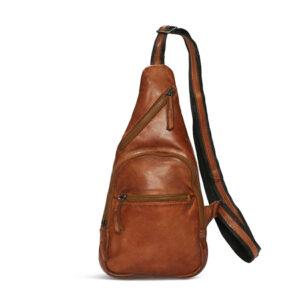 Pia Ries høj cognac skind bæltetaske 065-11