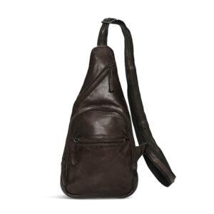 Pia Ries høj brun skind bæltetaske 065-2