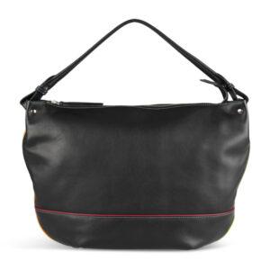 Pia Ries sort crossbody taske med piping og farvedetaljer