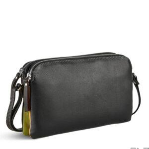 Pia Ries crossbody taske i sort kalveskind og tropical detaljer