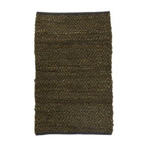 Håndlavet lædertæppe 60x90 cm i sort og grøn 122292