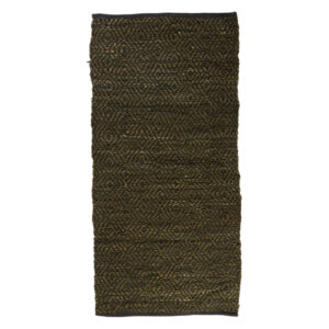 Speedtsberg håndlavet lædertæppe 70 x 140 cm mørk grøn zigzag