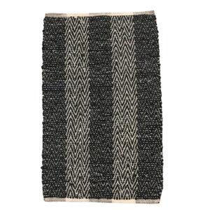 Håndlavet lædertæppe 60 x 90 cm i sort og beige