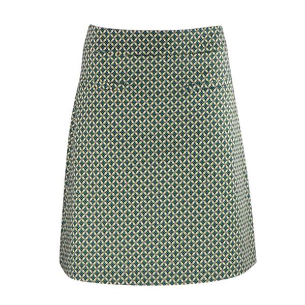 Zilch nederdel i lime og gult mønster