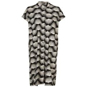 Masai Odelli gennemknappet kjole med korte ærmer. Med hvidt print på sort baggrund.