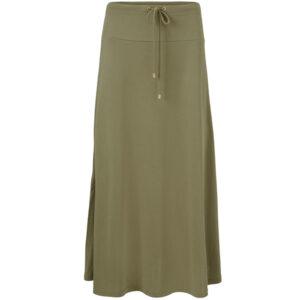 Masai oliven grøn lang nederdel model Sanna. Med bindebånd i taljen