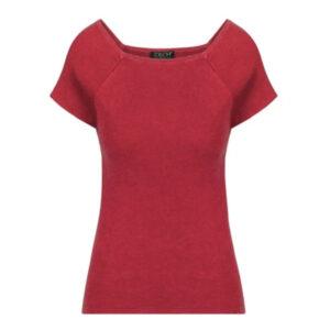 Zilch rød bambus top med korte ærmer og firkantet halsudskæring