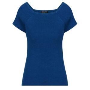 Zilch midnight blå bambus top med korte ærmer og firkantet halsudskæring