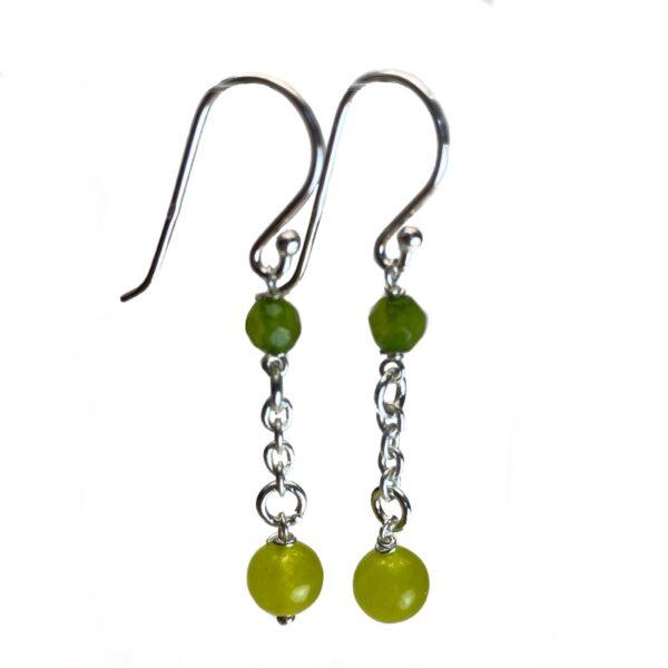 Sølv øreringe med grønne sten