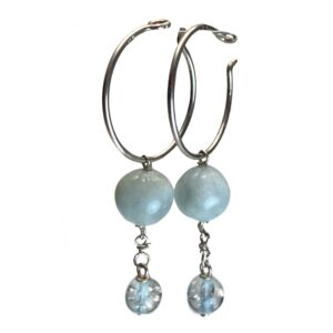 Lyseblå øreringe i sølv
