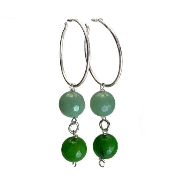 Håndlavede grønne øreringe