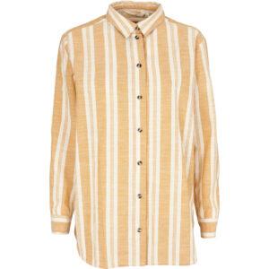 Basic Apparel stribet Evita skjorte i inca gold og hvid.