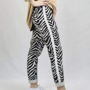 Amaze relax bukser sort og hvid zebra mønster