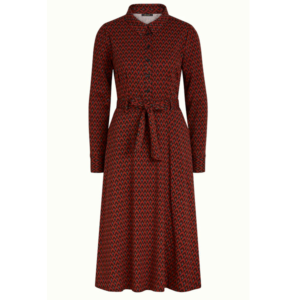 King Louie Sheeva kjole earl grey i brunette brown med lange ærmer