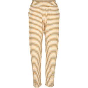 Basic Apparel stribet Vendela bukser, Inca gold og offwhite