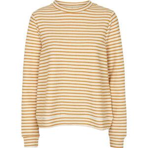 Basic Apparel Vendela Sweatshirt med striber i gylden og offwhite