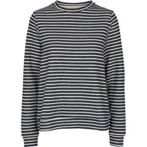 Basic Apparel Vendela Sweatshirt med striber i navy og offwhite.