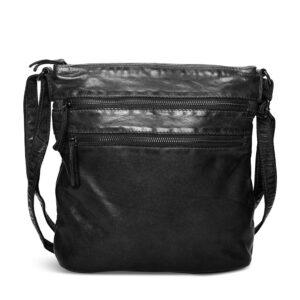 Pia Ries sort rummelig crossbody taske med rem og lommer