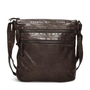 Pia Ries brun rummelig crossbody taske med rem og lommer