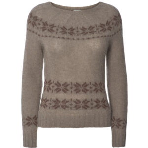 Gai + Lisva Lillie strik pullover med nordisk mønster i hasselnød brun