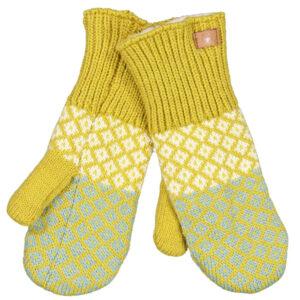Fuza Wool strikket Ida luffer med mønster Mustard. I lammeuld