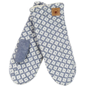 Fuza Wool strikket Iris luffer i silver/blue. Med mønster og foret