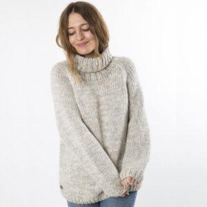 Fuzawool beige Yrsa strik sweater med rullekrave