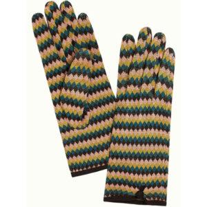 King Louie strikket handsker Caberet Curry Yellow. Med flot mønster