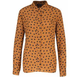 Zilch kary gul skjorte med polkaprikker. Med knapper og krave