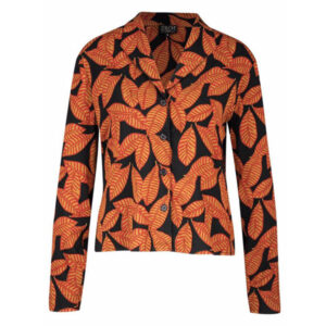 Zilch Jakke med mønster af blade på sort bund