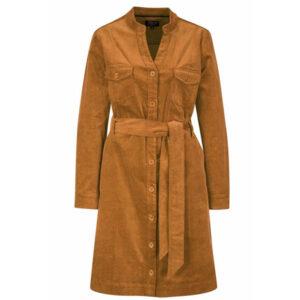 Zilch bomuldfløjl kjole med knapper og lange ærmer i karrygul