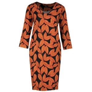 Zilch kjole med bladmønster på sort bund