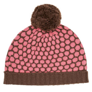 Zilch strikket hue med kvast i pink og brun