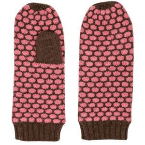 Zilch strikket luffer i pink og brun