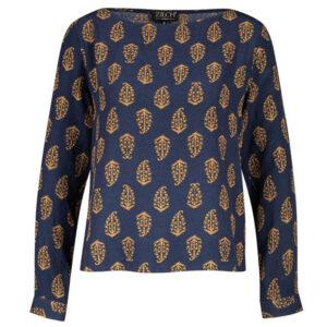 Zilch langærmet bluse med mønster paisley navy